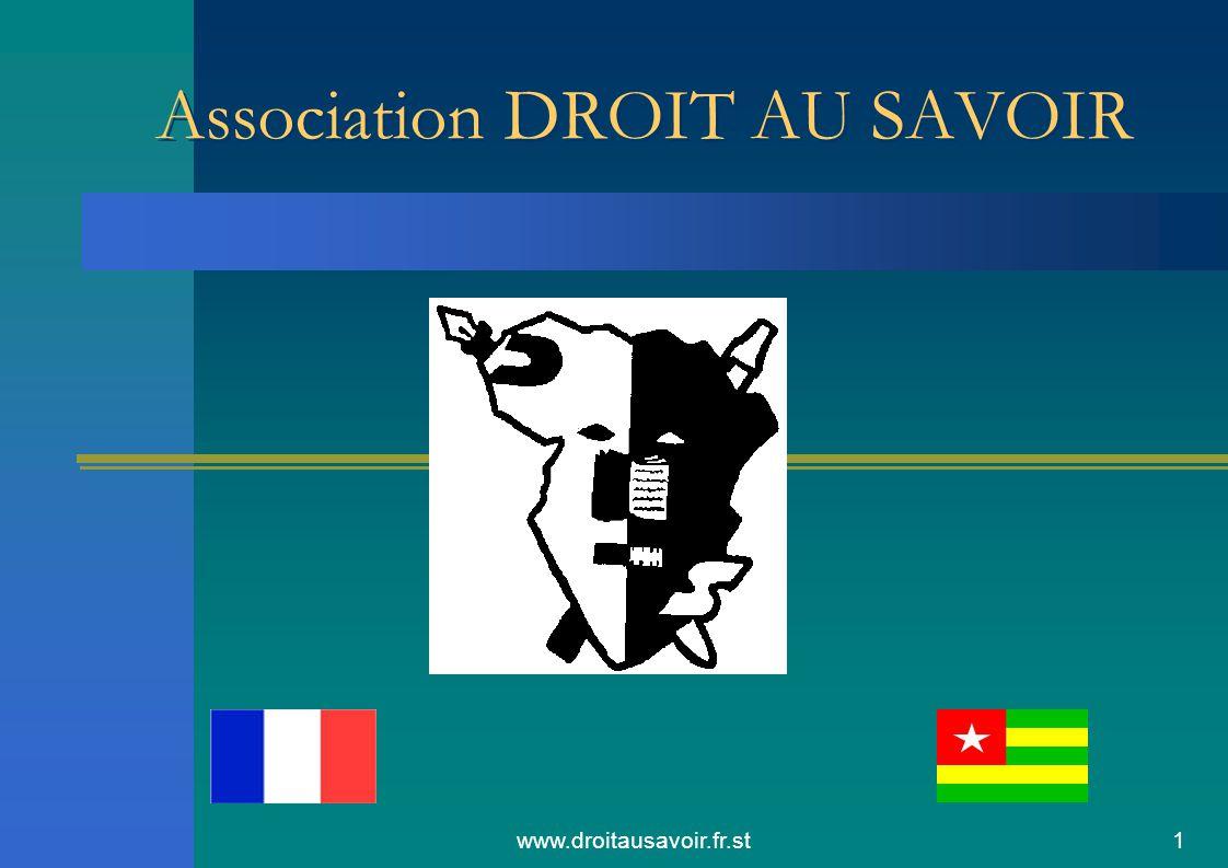 www.droitausavoir.fr.st2 Présentation du projet Présentation de l'équipe L'objectif principal du projet était l'obtention des livres et surtout leur acheminement vers Lomé dans une école avec laquelle nous avons pris contact.
