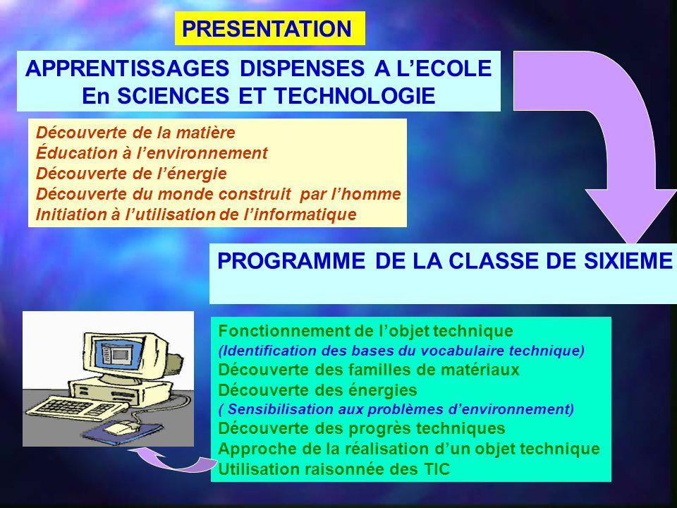 APPRENTISSAGES DISPENSES A L'ECOLE En SCIENCES ET TECHNOLOGIE Découverte de la matière Éducation à l'environnement Découverte de l'énergie Découverte