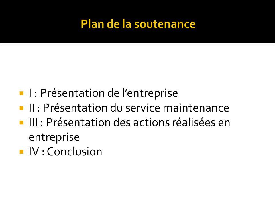  I : Présentation de l'entreprise  II : Présentation du service maintenance  III : Présentation des actions réalisées en entreprise  IV : Conclusion