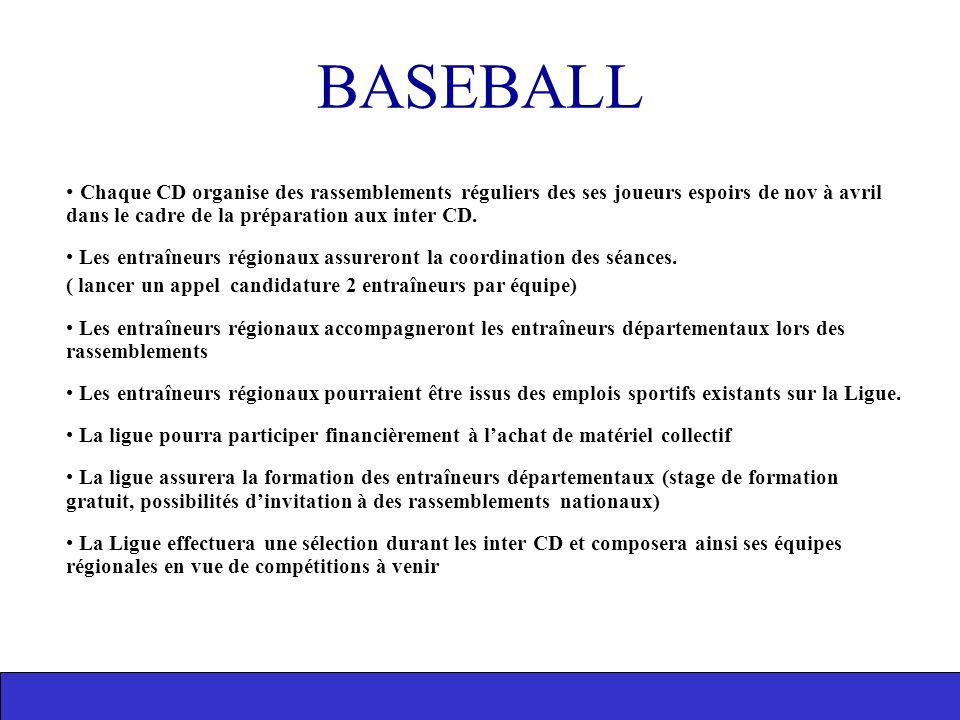 BASEBALL Chaque CD organise des rassemblements réguliers des ses joueurs espoirs de nov à avril dans le cadre de la préparation aux inter CD. Les entr