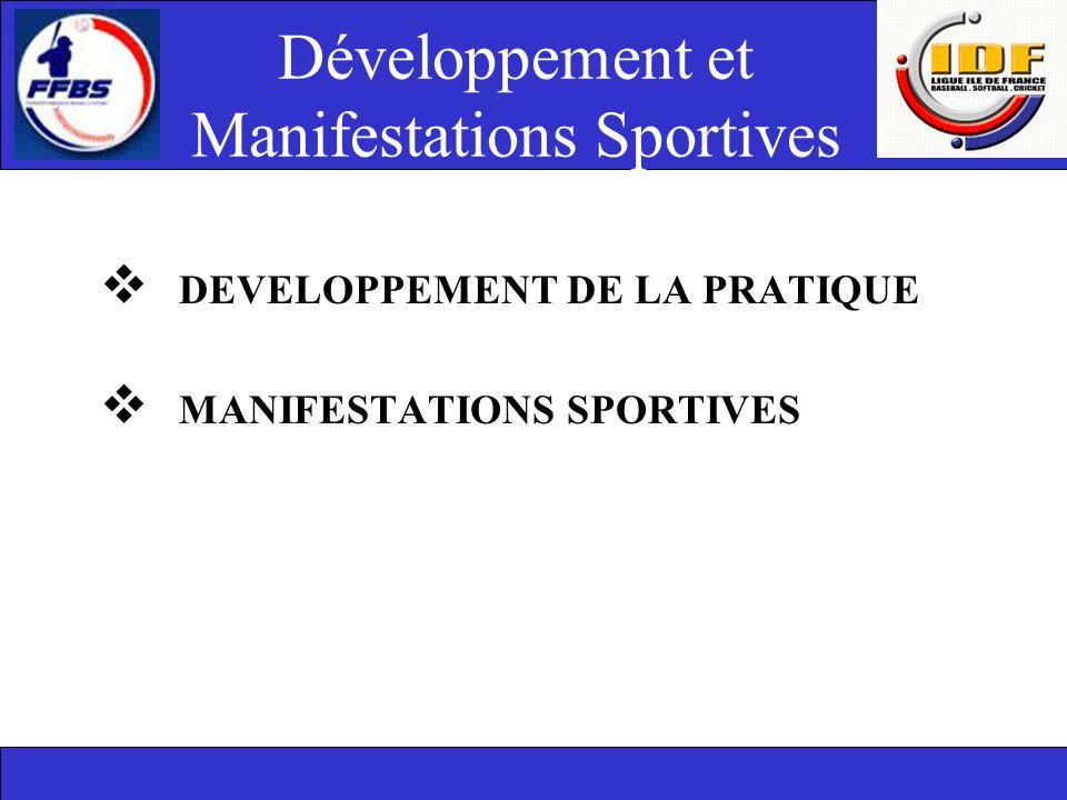 Développement et Manifestations Sportives  DEVELOPPEMENT DE LA PRATIQUE  MANIFESTATIONS SPORTIVES
