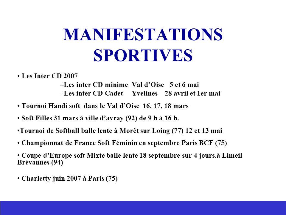 MANIFESTATIONS SPORTIVES Les Inter CD 2007 –Les inter CD minime Val d'Oise 5 et 6 mai –Les inter CD Cadet Yvelines 28 avril et 1er mai Tournoi Handi s