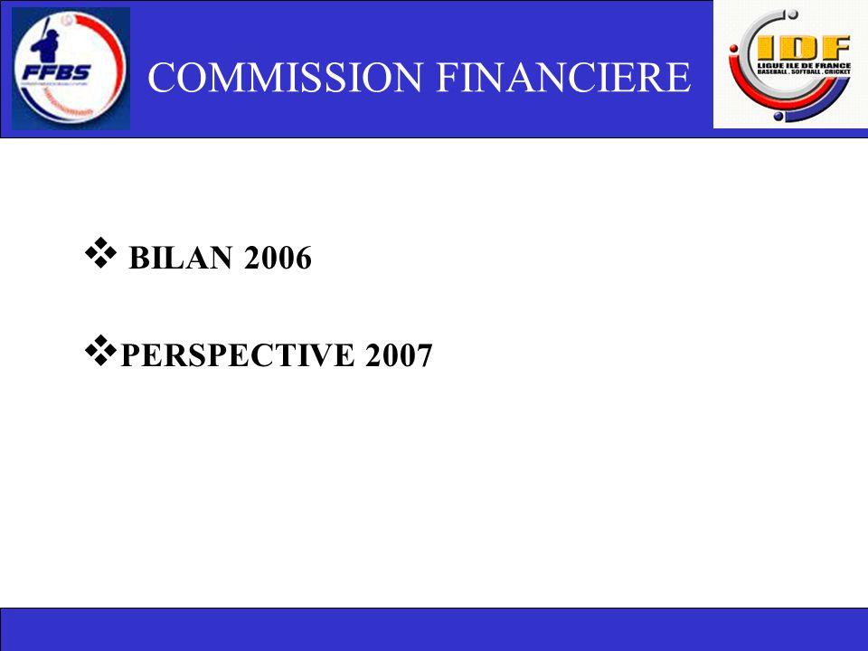 COMMISSION FINANCIERE  BILAN 2006  PERSPECTIVE 2007