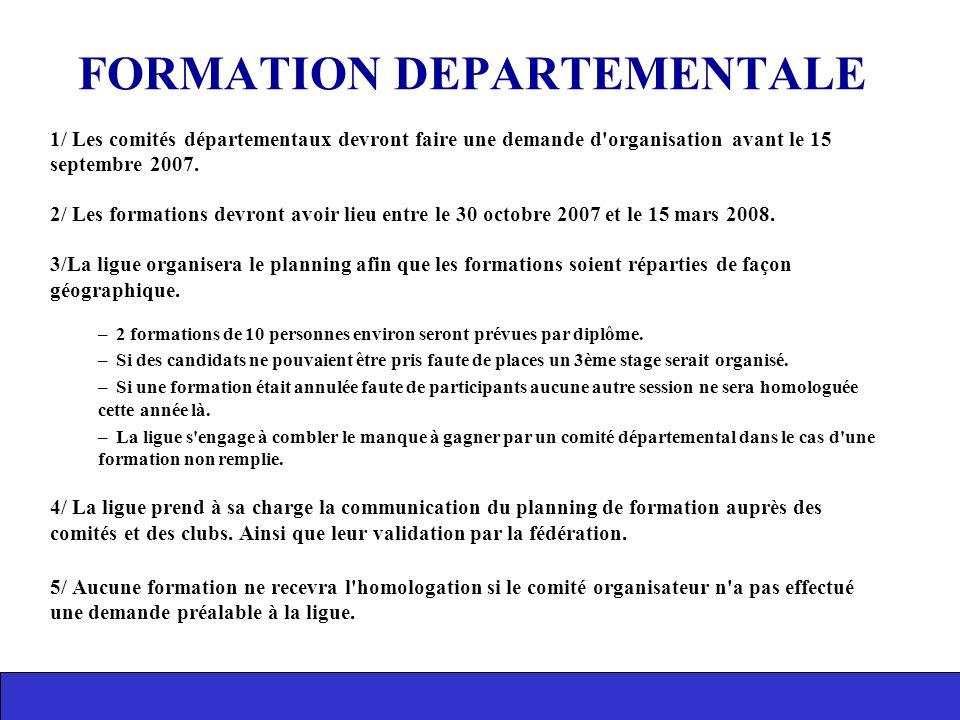 1/ Les comités départementaux devront faire une demande d'organisation avant le 15 septembre 2007. 2/ Les formations devront avoir lieu entre le 30 oc