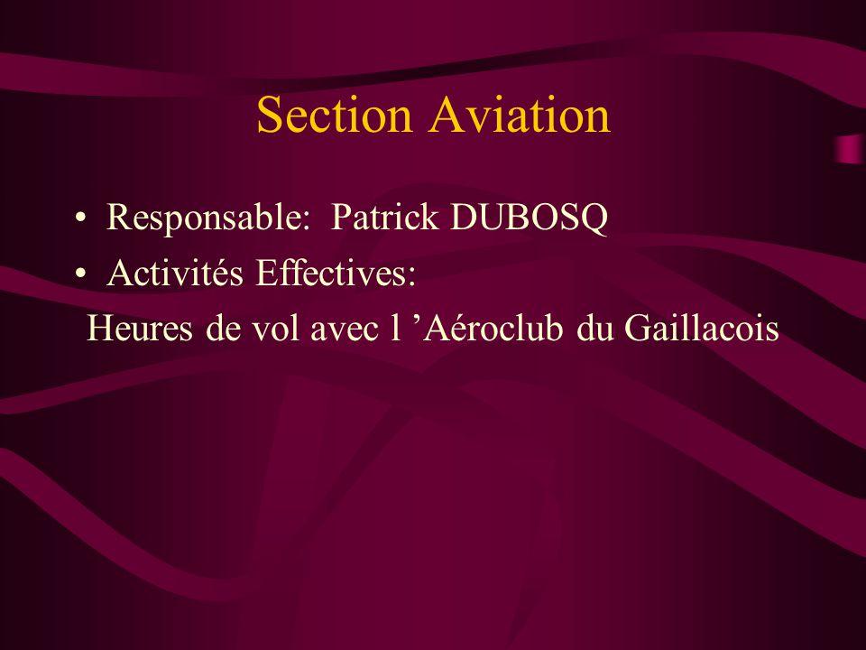 Section Aviation Responsable: Patrick DUBOSQ Activités Effectives: Heures de vol avec l 'Aéroclub du Gaillacois
