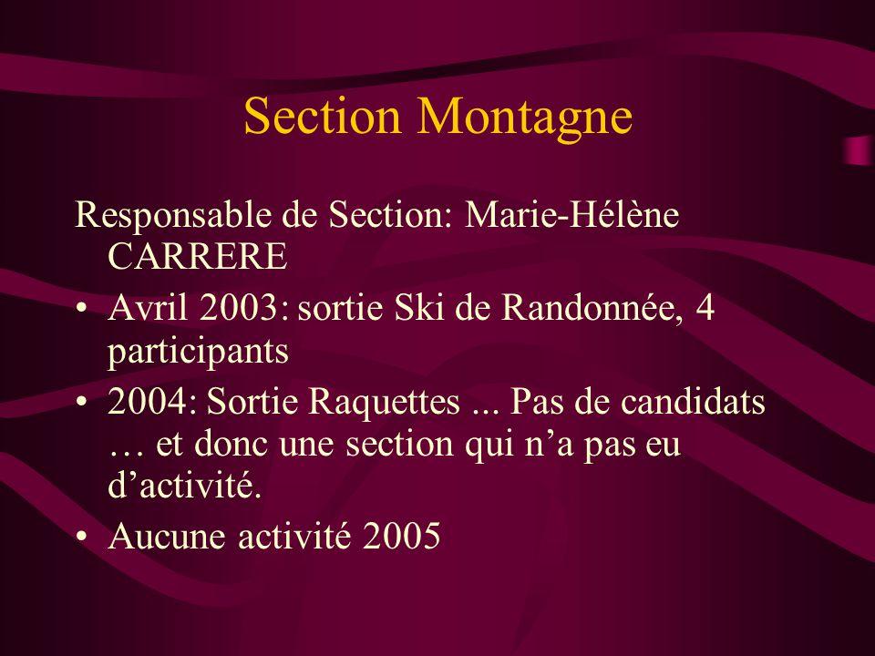 Section Montagne Responsable de Section: Marie-Hélène CARRERE Avril 2003: sortie Ski de Randonnée, 4 participants 2004: Sortie Raquettes... Pas de can