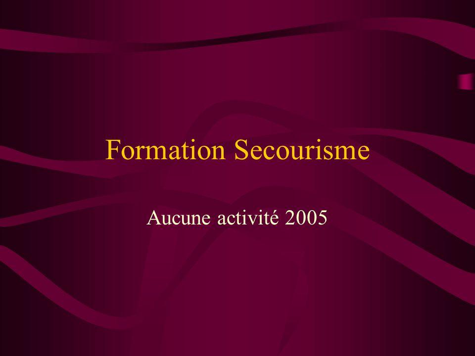 Formation Secourisme Aucune activité 2005
