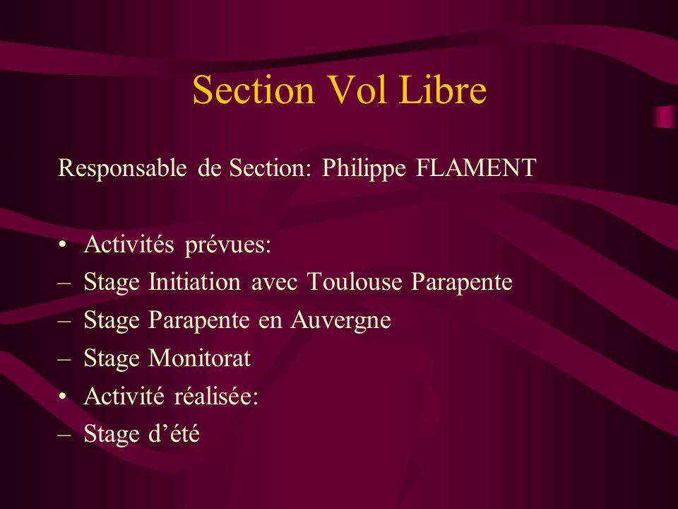 Section Vol Libre Responsable de Section: Philippe FLAMENT Activités prévues: –Stage Initiation avec Toulouse Parapente –Stage Parapente en Auvergne –Stage Monitorat Activité réalisée: –Stage d'été