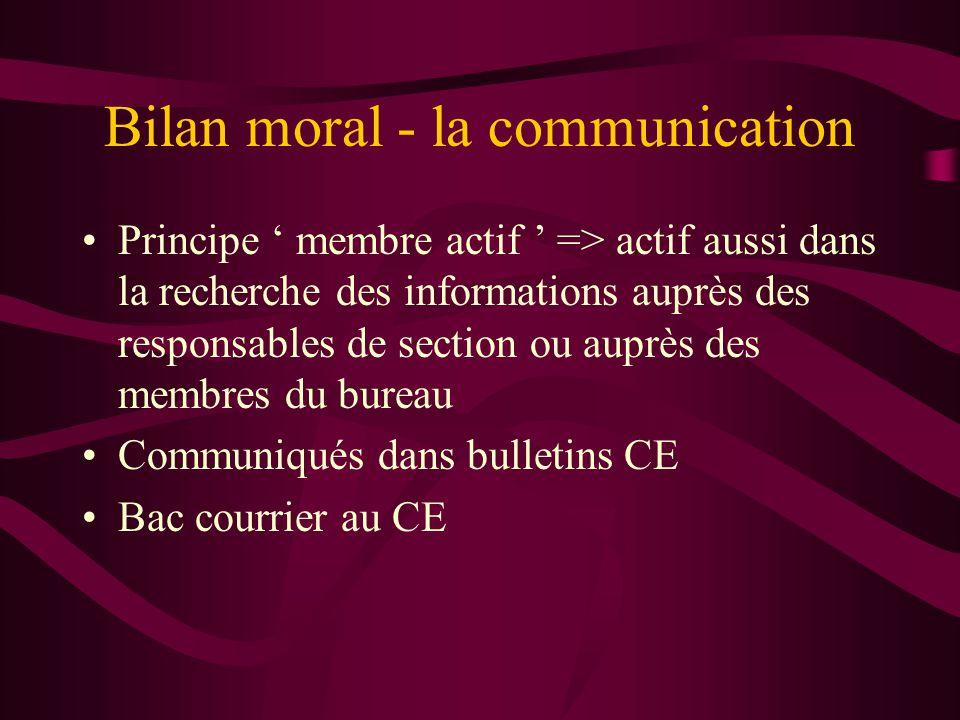 Bilan moral - la communication Principe ' membre actif ' => actif aussi dans la recherche des informations auprès des responsables de section ou auprè