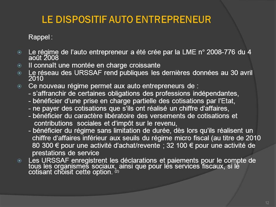 12 LE DISPOSITIF AUTO ENTREPRENEUR Rappel :  Le régime de l'auto entrepreneur a été crée par la LME n° 2008-776 du 4 août 2008  Il connaît une monté