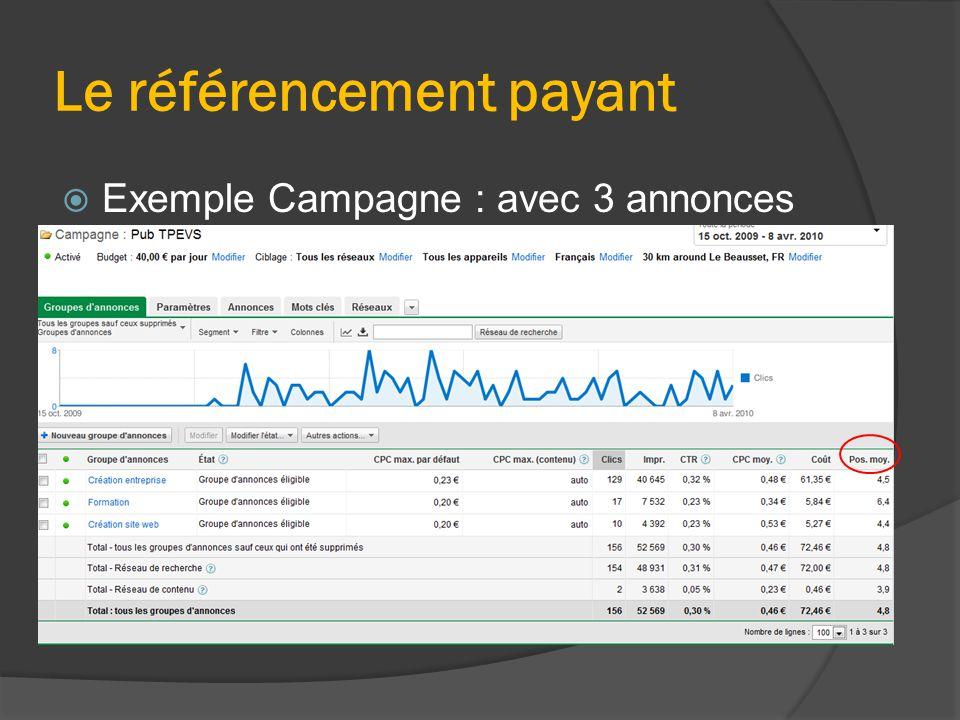Le référencement payant  Exemple Campagne : avec 3 annonces