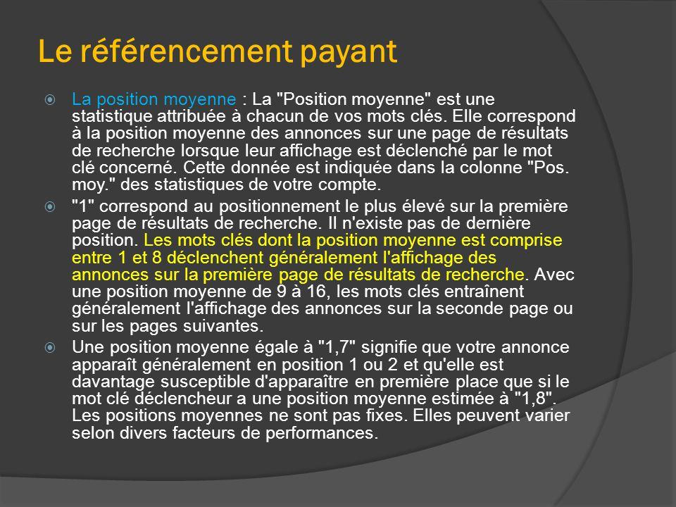 Le référencement payant  La position moyenne : La