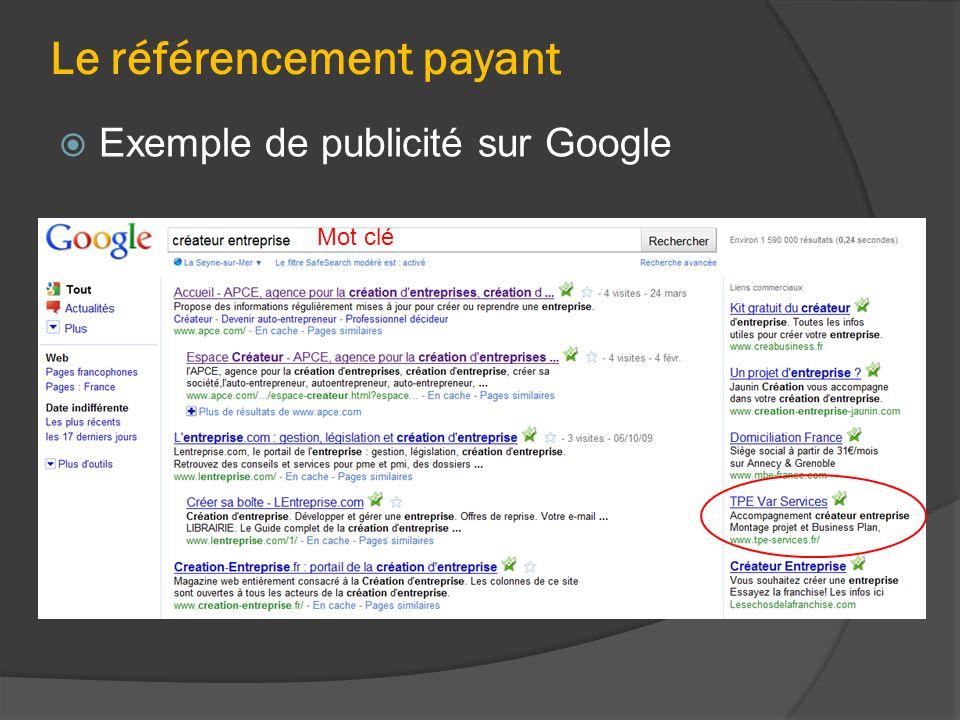 Le référencement payant  Exemple de publicité sur Google Mot clé