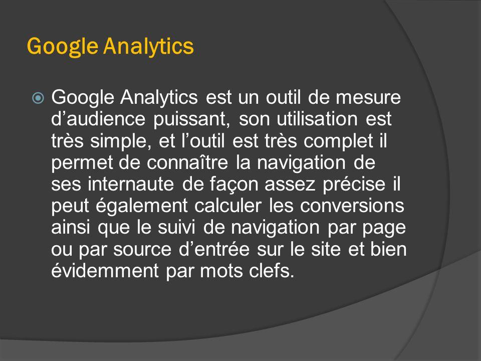 Google Analytics  Google Analytics est un outil de mesure d'audience puissant, son utilisation est très simple, et l'outil est très complet il permet de connaître la navigation de ses internaute de façon assez précise il peut également calculer les conversions ainsi que le suivi de navigation par page ou par source d'entrée sur le site et bien évidemment par mots clefs.