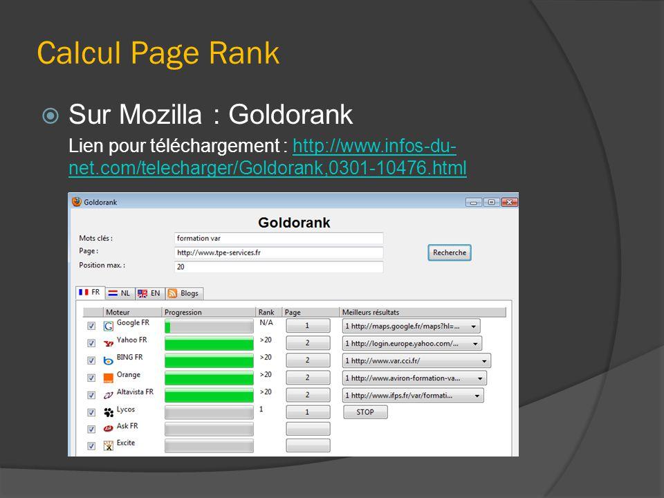 Calcul Page Rank  Sur Mozilla : Goldorank Lien pour téléchargement : http://www.infos-du- net.com/telecharger/Goldorank,0301-10476.htmlhttp://www.infos-du- net.com/telecharger/Goldorank,0301-10476.html