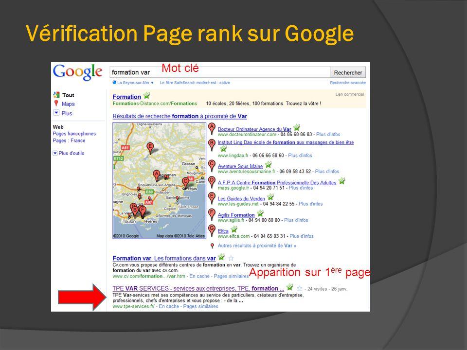 Vérification Page rank sur Google Mot clé Apparition sur 1 ère page