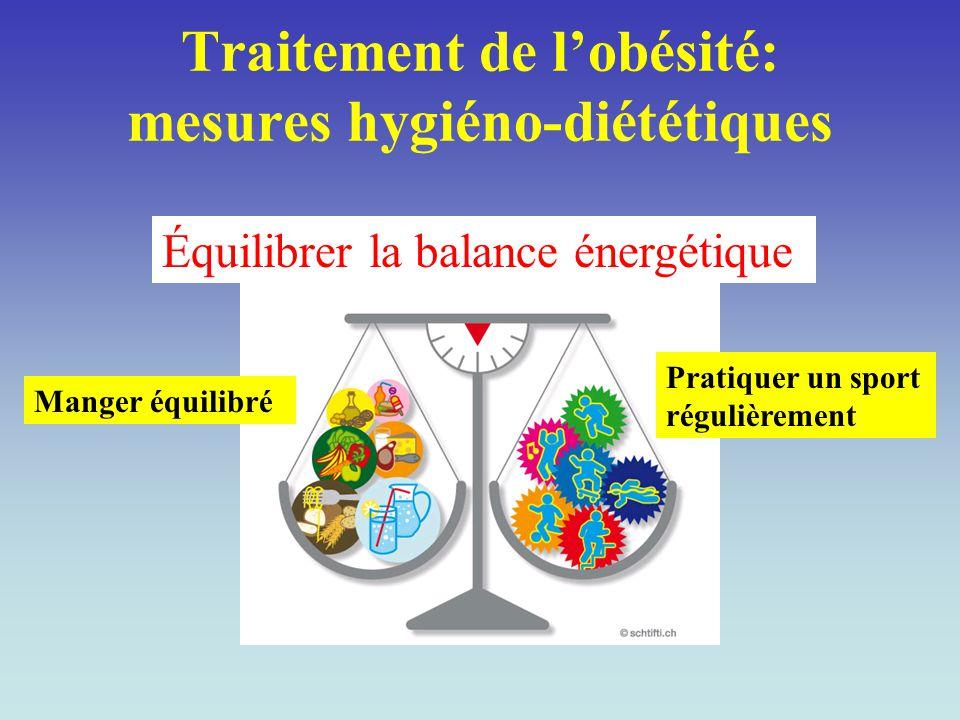 Traitement de l'obésité: mesures hygiéno-diététiques Équilibrer la balance énergétique Manger équilibré Pratiquer un sport régulièrement