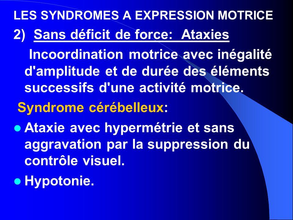 LES SYNDROMES A EXPRESSION MOTRICE 2) Sans déficit de force: Ataxies Incoordination motrice avec inégalité d'amplitude et de durée des éléments succes