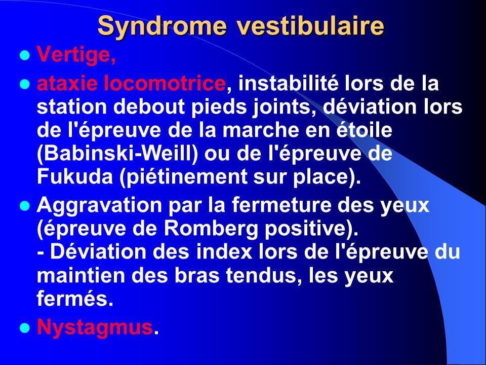 Syndrome vestibulaire Vertige, ataxie locomotrice, instabilité lors de la station debout pieds joints, déviation lors de l'épreuve de la marche en éto