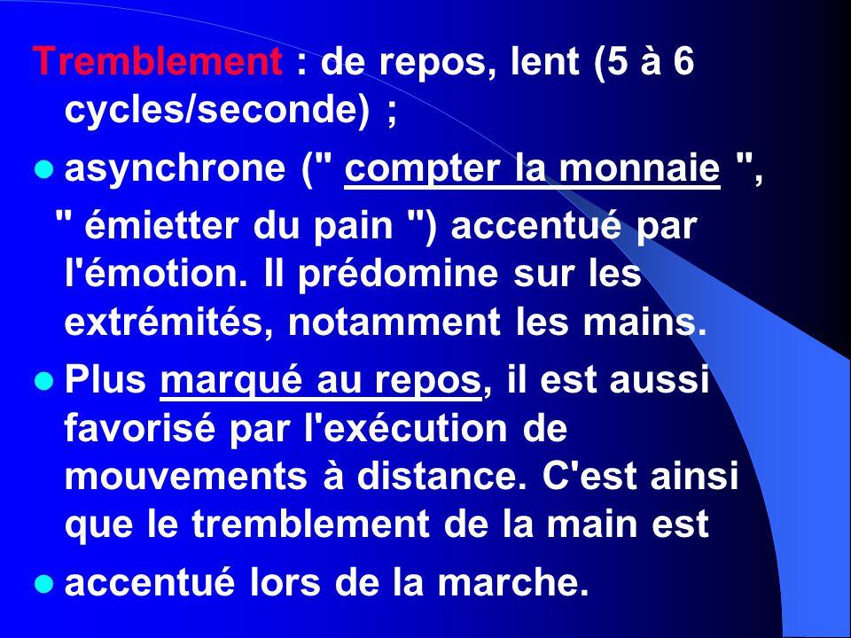 Tremblement : de repos, lent (5 à 6 cycles/seconde) ; asynchrone (