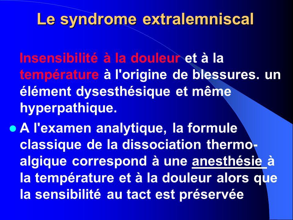 Le syndrome extralemniscal Insensibilité à la douleur et à la température à l'origine de blessures. un élément dysesthésique et même hyperpathique. A