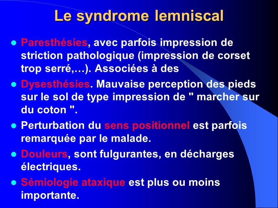 Le syndrome lemniscal Paresthésies, avec parfois impression de striction pathologique (impression de corset trop serré,…). Associées à des Dysesthésie