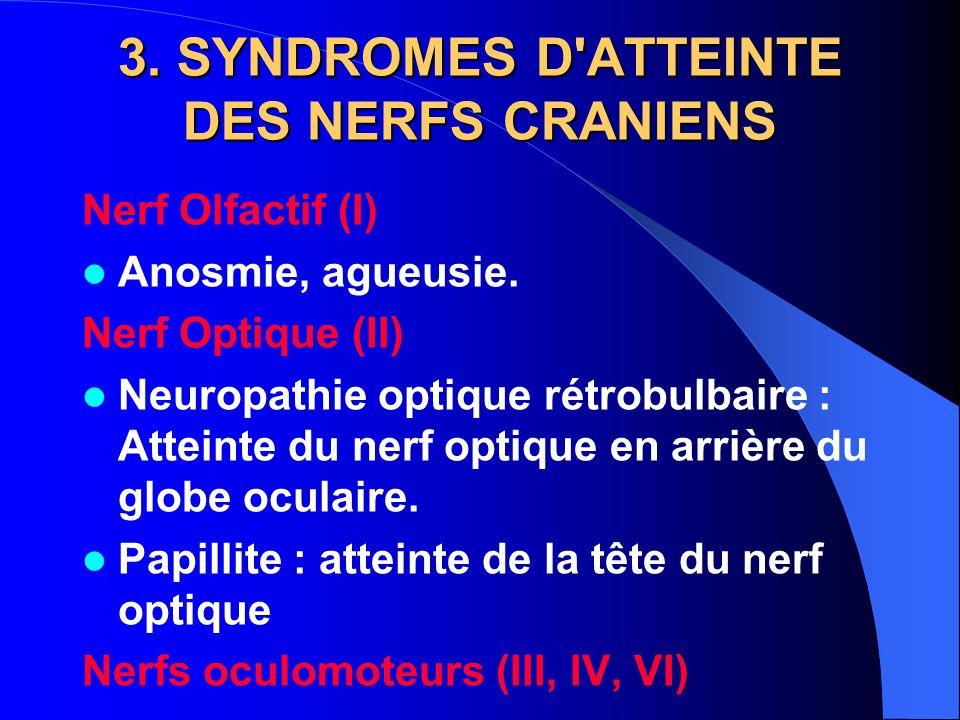 3. SYNDROMES D'ATTEINTE DES NERFS CRANIENS Nerf Olfactif (I) Anosmie, agueusie. Nerf Optique (II) Neuropathie optique rétrobulbaire : Atteinte du nerf