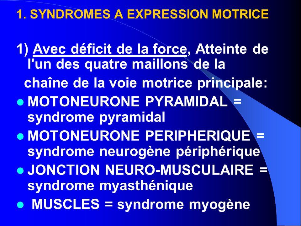 1. SYNDROMES A EXPRESSION MOTRICE 1) Avec déficit de la force, Atteinte de l'un des quatre maillons de la chaîne de la voie motrice principale: MOTONE