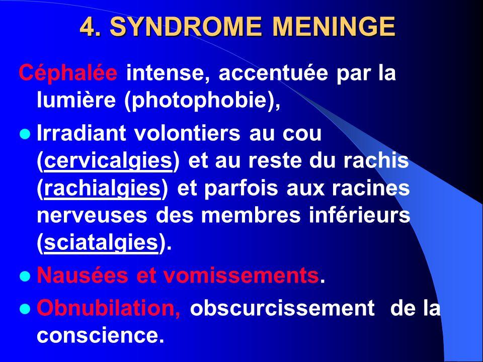 4. SYNDROME MENINGE Céphalée intense, accentuée par la lumière (photophobie), Irradiant volontiers au cou (cervicalgies) et au reste du rachis (rachia