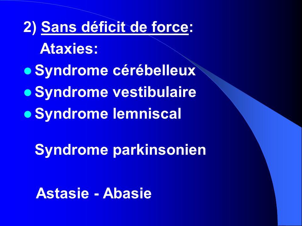 2) Sans déficit de force: Ataxies: Syndrome cérébelleux Syndrome vestibulaire Syndrome lemniscal Syndrome parkinsonien Astasie - Abasie