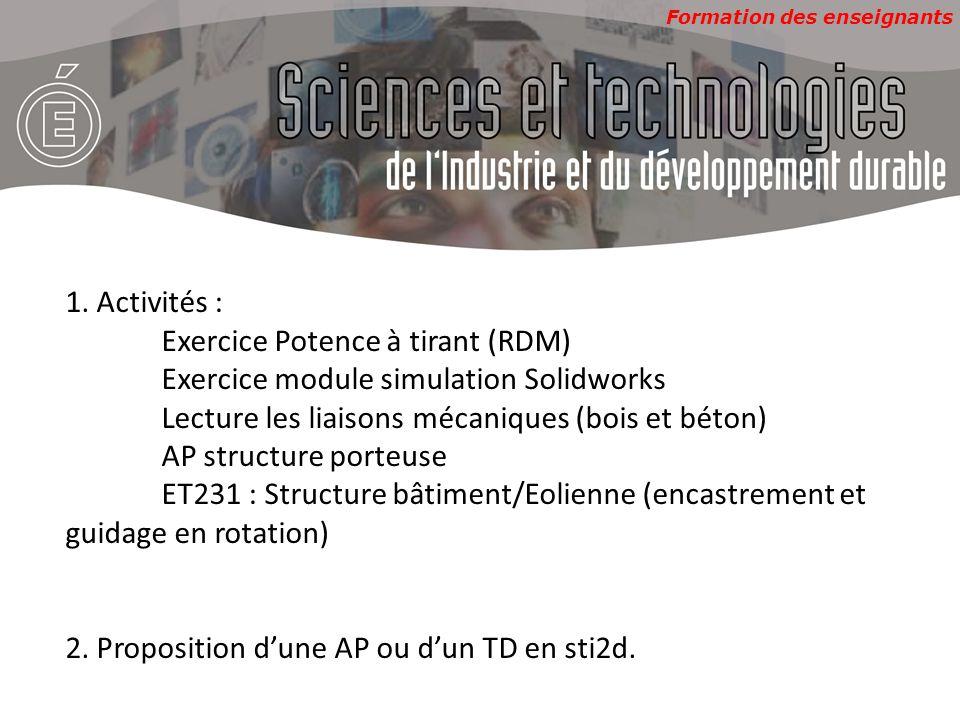 Formation des enseignants 1. Activités : Exercice Potence à tirant (RDM) Exercice module simulation Solidworks Lecture les liaisons mécaniques (bois e