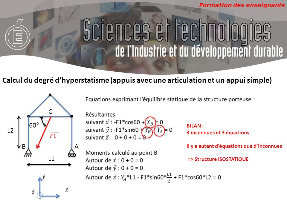 Formation des enseignants 60° AB C L1 L2 Calcul du degré d'hyperstatisme (appuis avec deux articulations) BILAN : 4 inconnues et 3 équations Il y a une inconnue de plus que d'équations => Structure HYPERSTATIQUE de degré 1