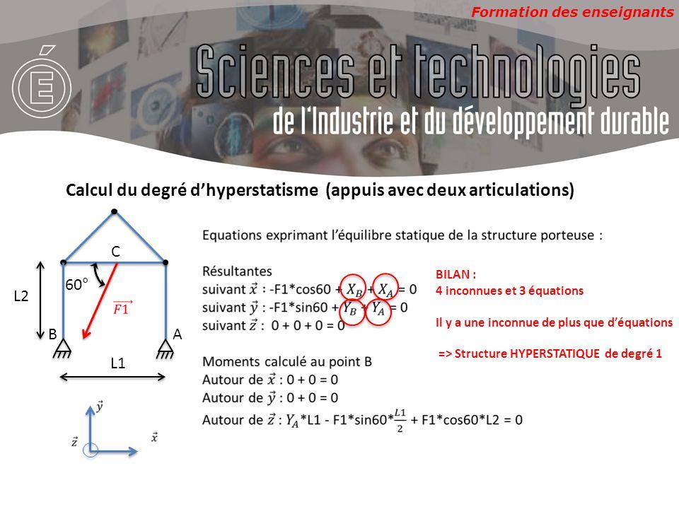 Formation des enseignants 60° AB C L1 L2 Calcul du degré d'hyperstatisme (appuis avec deux articulations) BILAN : 4 inconnues et 3 équations Il y a un