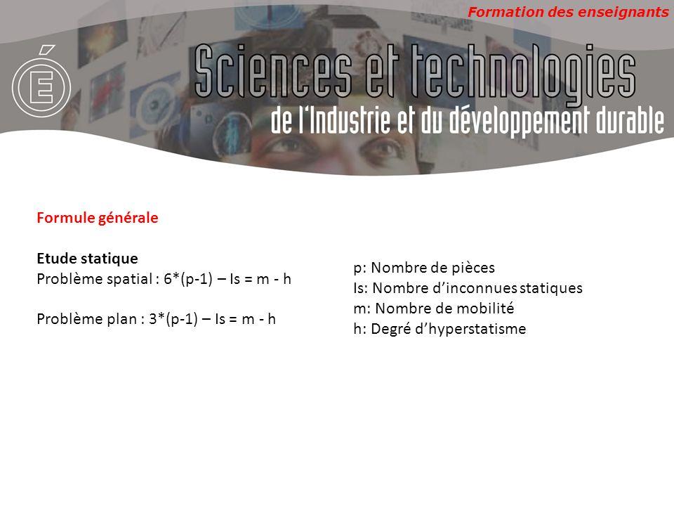 Formation des enseignants Formule générale Etude statique Problème spatial : 6*(p-1) – Is = m - h Problème plan : 3*(p-1) – Is = m - h p: Nombre de pi