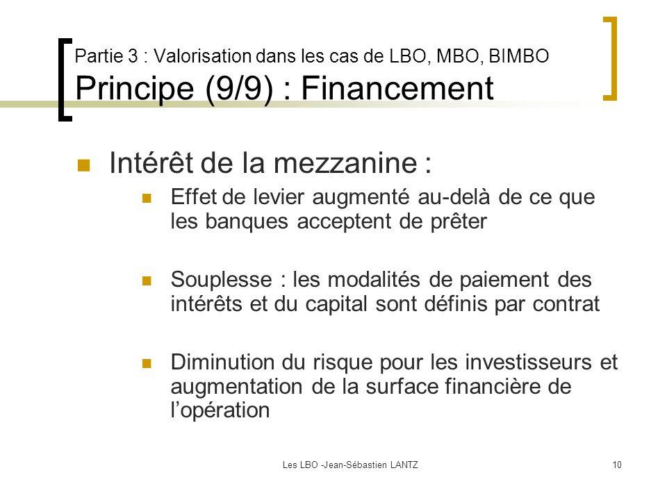 Les LBO -Jean-Sébastien LANTZ10 Partie 3 : Valorisation dans les cas de LBO, MBO, BIMBO Principe (9/9) : Financement Intérêt de la mezzanine : Effet de levier augmenté au-delà de ce que les banques acceptent de prêter Souplesse : les modalités de paiement des intérêts et du capital sont définis par contrat Diminution du risque pour les investisseurs et augmentation de la surface financière de l'opération