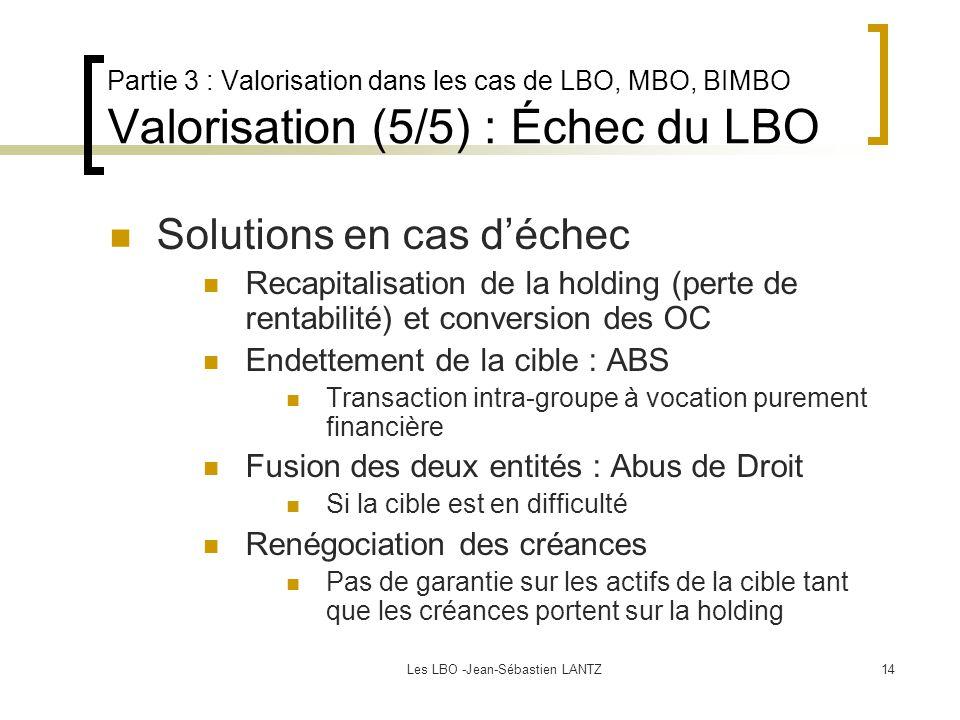 Les LBO -Jean-Sébastien LANTZ14 Partie 3 : Valorisation dans les cas de LBO, MBO, BIMBO Valorisation (5/5) : Échec du LBO Solutions en cas d'échec Recapitalisation de la holding (perte de rentabilité) et conversion des OC Endettement de la cible : ABS Transaction intra-groupe à vocation purement financière Fusion des deux entités : Abus de Droit Si la cible est en difficulté Renégociation des créances Pas de garantie sur les actifs de la cible tant que les créances portent sur la holding
