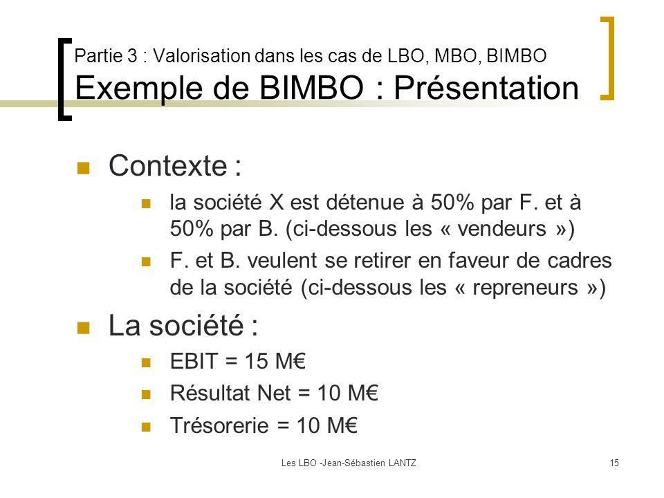 Les LBO -Jean-Sébastien LANTZ15 Partie 3 : Valorisation dans les cas de LBO, MBO, BIMBO Exemple de BIMBO : Présentation Contexte : la société X est détenue à 50% par F.