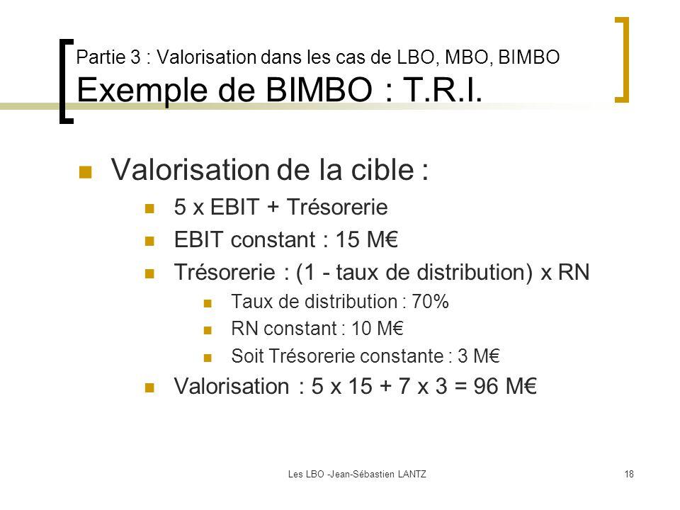 Les LBO -Jean-Sébastien LANTZ18 Partie 3 : Valorisation dans les cas de LBO, MBO, BIMBO Exemple de BIMBO : T.R.I. Valorisation de la cible : 5 x EBIT