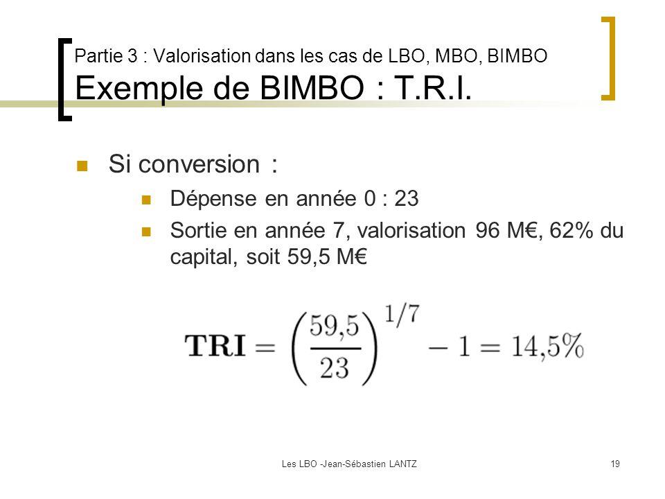 Les LBO -Jean-Sébastien LANTZ19 Partie 3 : Valorisation dans les cas de LBO, MBO, BIMBO Exemple de BIMBO : T.R.I. Si conversion : Dépense en année 0 :