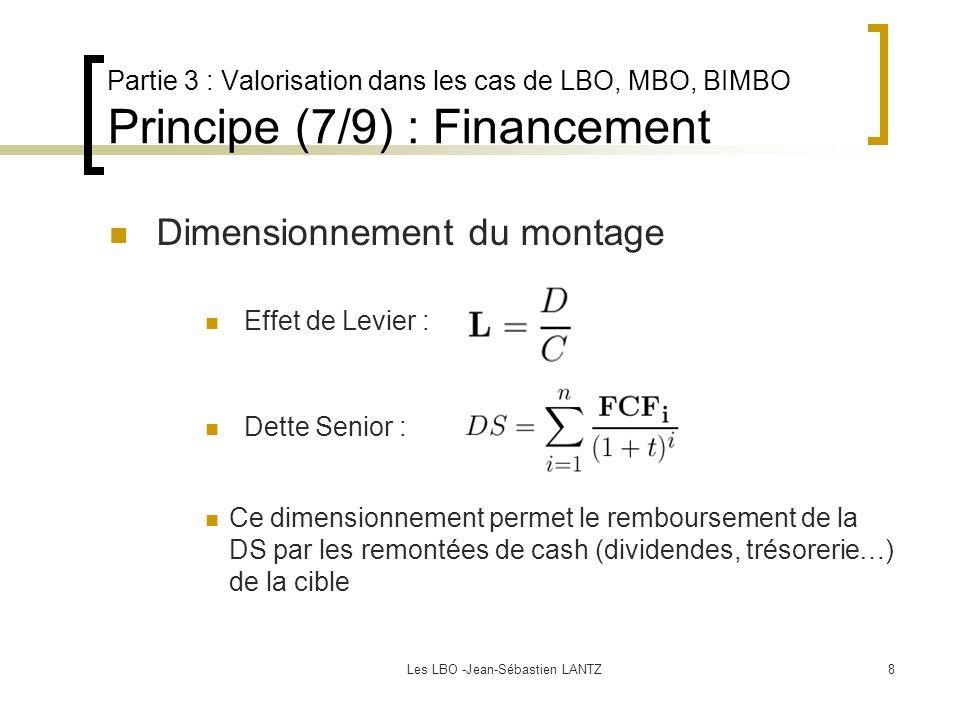 Les LBO -Jean-Sébastien LANTZ8 Partie 3 : Valorisation dans les cas de LBO, MBO, BIMBO Principe (7/9) : Financement Dimensionnement du montage Dette Senior : Ce dimensionnement permet le remboursement de la DS par les remontées de cash (dividendes, trésorerie…) de la cible Effet de Levier :