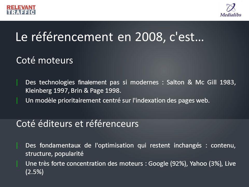 Coté moteurs | Des technologies finalement pas si modernes : Salton & Mc Gill 1983, Kleinberg 1997, Brin & Page 1998.