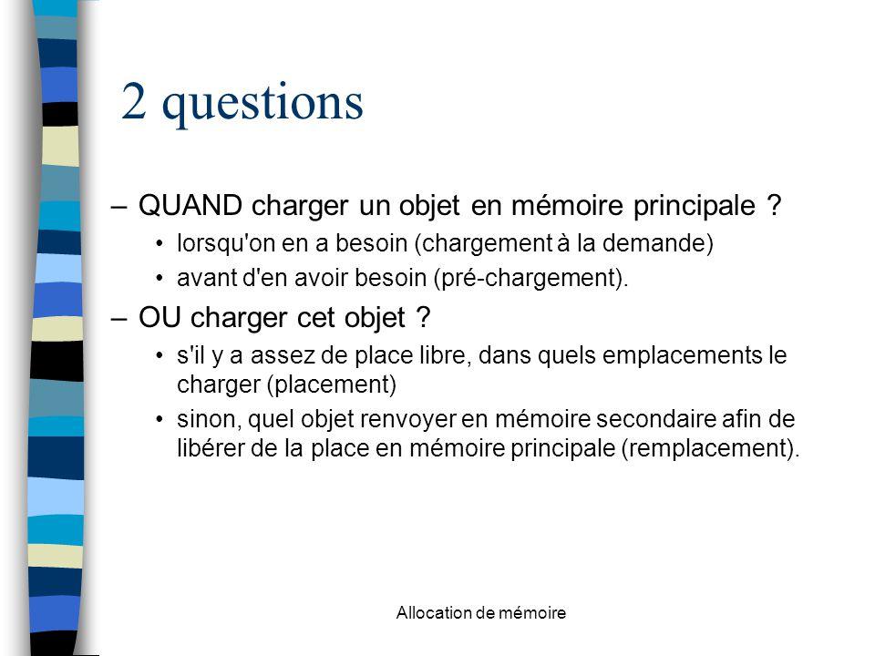 Allocation de mémoire 2 questions –QUAND charger un objet en mémoire principale .