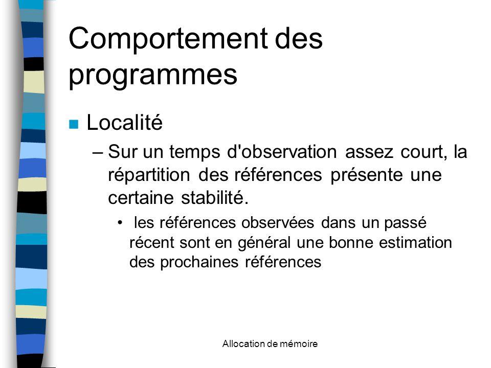 Allocation de mémoire Comportement des programmes Localité –Sur un temps d observation assez court, la répartition des références présente une certaine stabilité.