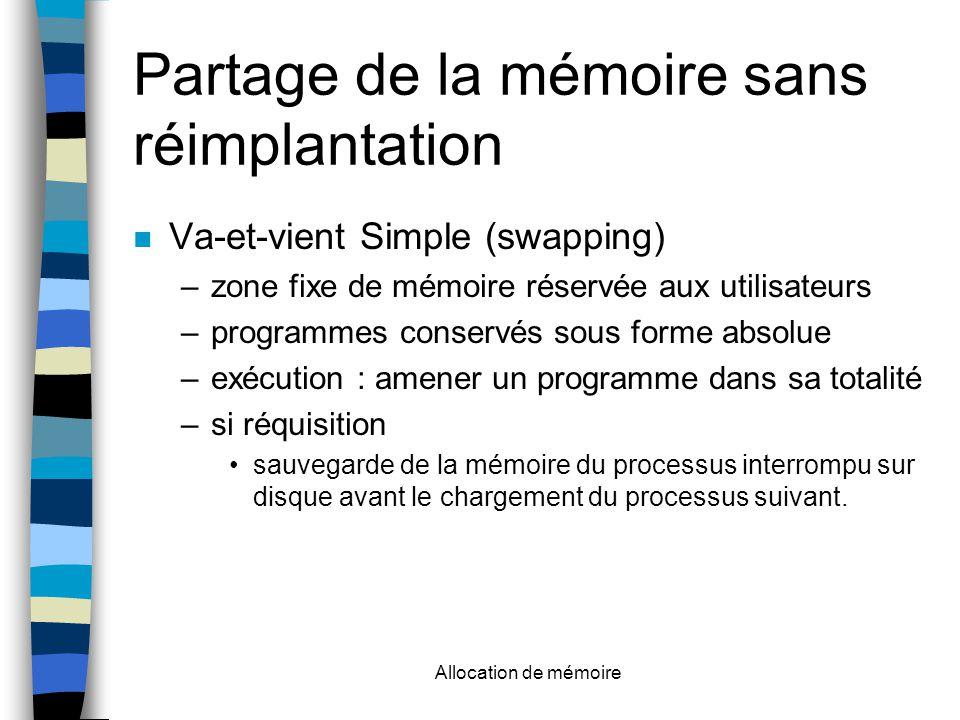 Allocation de mémoire Partage de la mémoire sans réimplantation Va-et-vient Simple (swapping) –zone fixe de mémoire réservée aux utilisateurs –programmes conservés sous forme absolue –exécution : amener un programme dans sa totalité –si réquisition sauvegarde de la mémoire du processus interrompu sur disque avant le chargement du processus suivant.