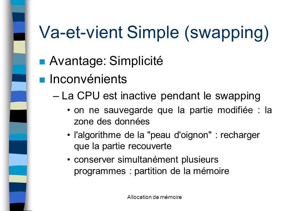 Allocation de mémoire Va-et-vient Simple (swapping) Avantage: Simplicité Inconvénients –La CPU est inactive pendant le swapping on ne sauvegarde que la partie modifiée : la zone des données l algorithme de la peau d oignon : recharger que la partie recouverte conserver simultanément plusieurs programmes : partition de la mémoire