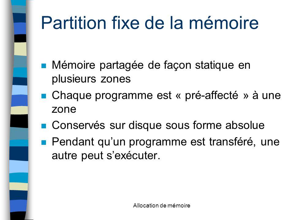 Allocation de mémoire Partition fixe de la mémoire n Mémoire partagée de façon statique en plusieurs zones n Chaque programme est « pré-affecté » à une zone n Conservés sur disque sous forme absolue n Pendant qu'un programme est transféré, une autre peut s'exécuter.