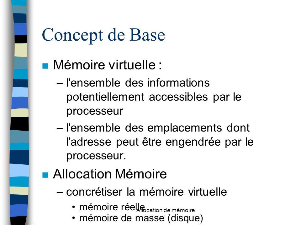 Concept de Base Mémoire virtuelle : –l ensemble des informations potentiellement accessibles par le processeur –l ensemble des emplacements dont l adresse peut être engendrée par le processeur.