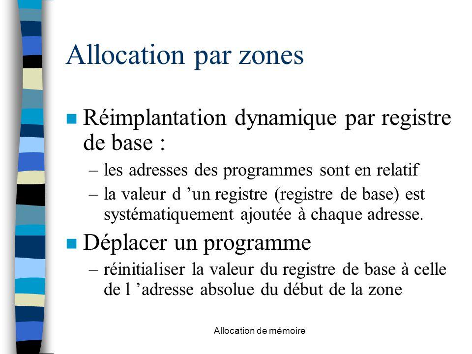 Allocation de mémoire Allocation par zones n Réimplantation dynamique par registre de base : –les adresses des programmes sont en relatif –la valeur d 'un registre (registre de base) est systématiquement ajoutée à chaque adresse.
