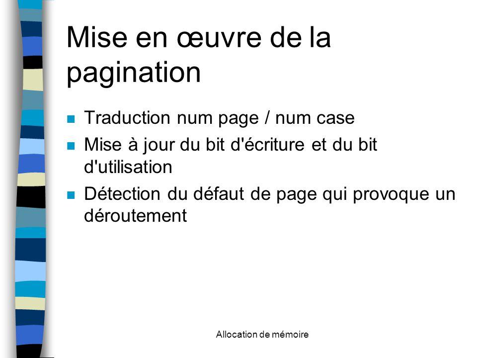 Allocation de mémoire Mise en œuvre de la pagination Traduction num page / num case Mise à jour du bit d écriture et du bit d utilisation Détection du défaut de page qui provoque un déroutement