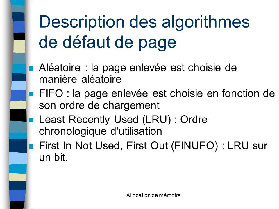Allocation de mémoire Description des algorithmes de défaut de page n Aléatoire : la page enlevée est choisie de manière aléatoire n FIFO : la page enlevée est choisie en fonction de son ordre de chargement n Least Recently Used (LRU) : Ordre chronologique d utilisation n First In Not Used, First Out (FINUFO) : LRU sur un bit.